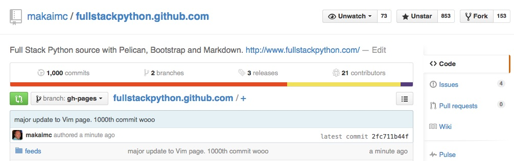 Screenshot of 1000th commit to Full Stack Python.
